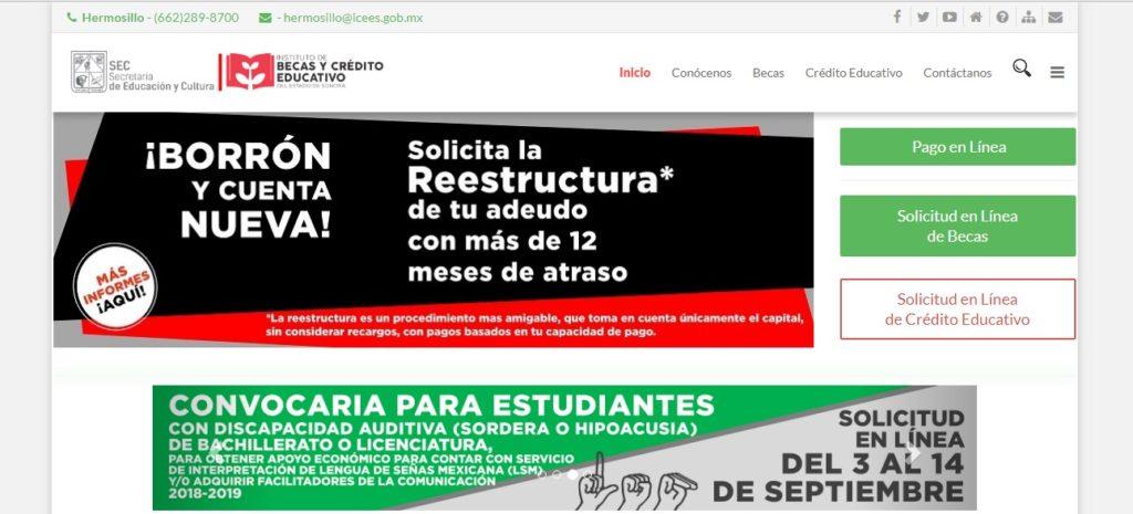 Inicio del portal web de becas del Estado Sonora