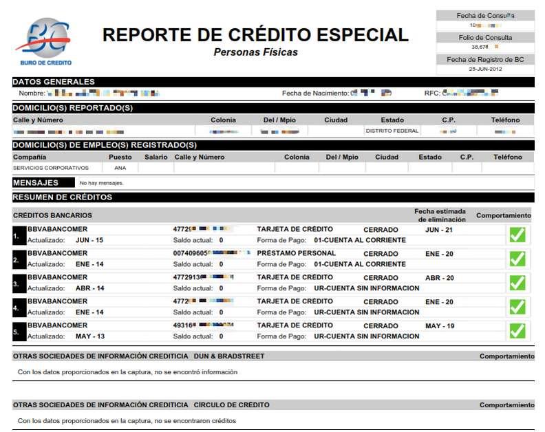 consulta de buró de crédito resultado