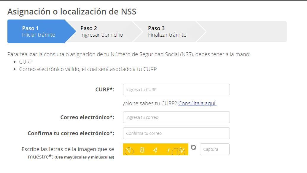 consulta número de seguro social paso 1