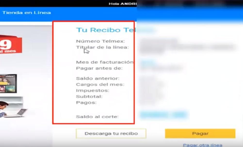 consultar recibo telmex datos del recibo