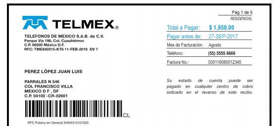 consultar recibo telmex información del cliente