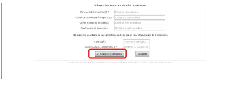 formulario donde debes registrar tu contraseña