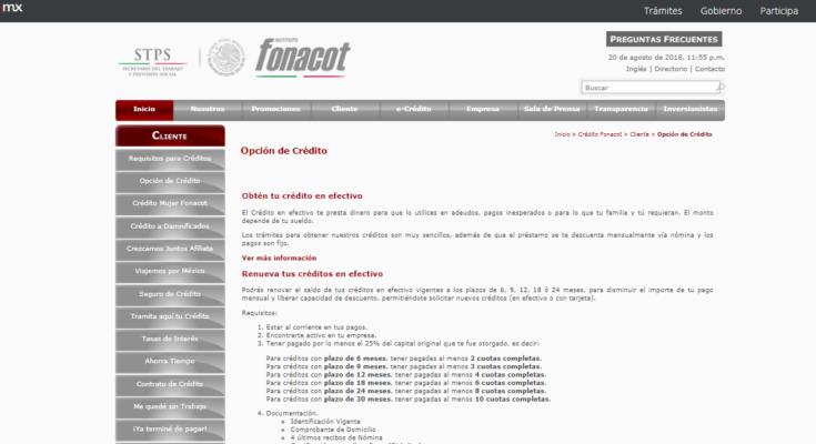 Consulta crédito para trabajadores de Fonacot
