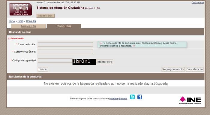 Consulta de citas INE Veracruz