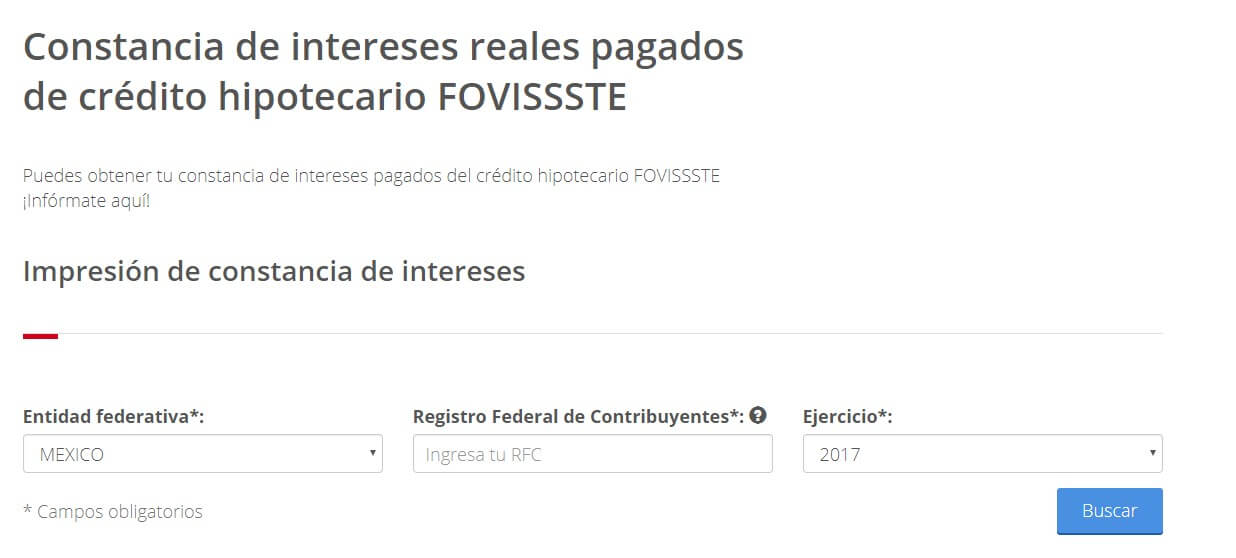 Contancia de intereses pagados Fovissste
