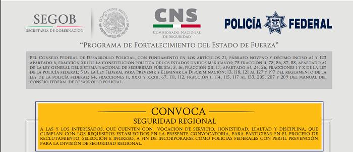Convocatoria policia federal seguridad regional