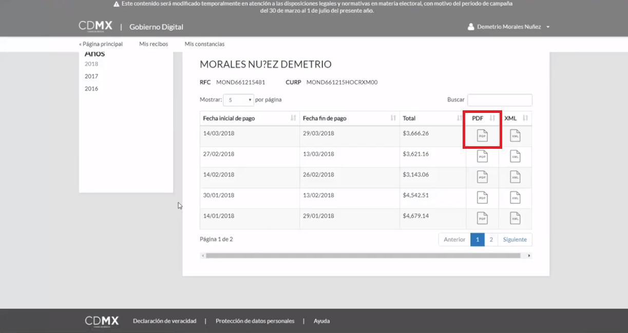 Descargar PDF recibo de pago