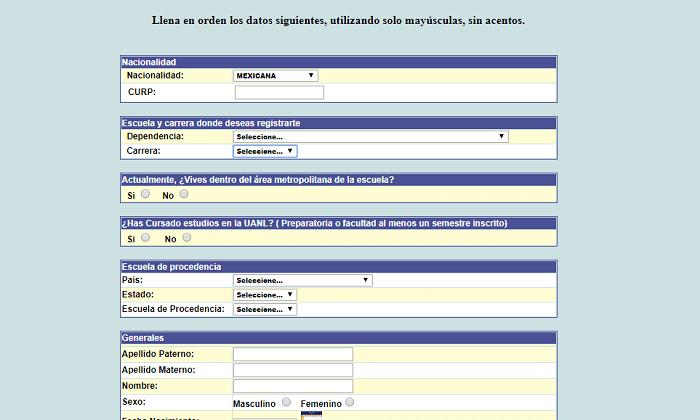 Formulario UANL