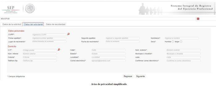 formulario del Sirep