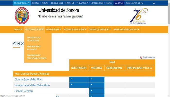 Portal oficial de Unison