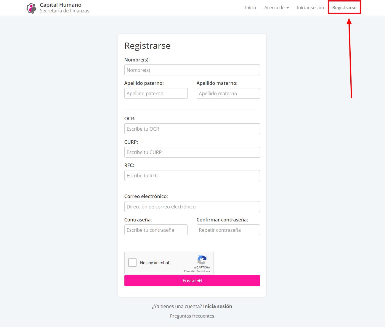Registrarse recibo de pago