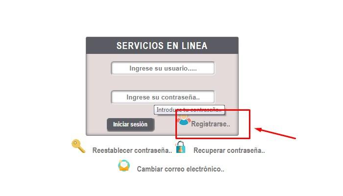 Registrate en el sistema