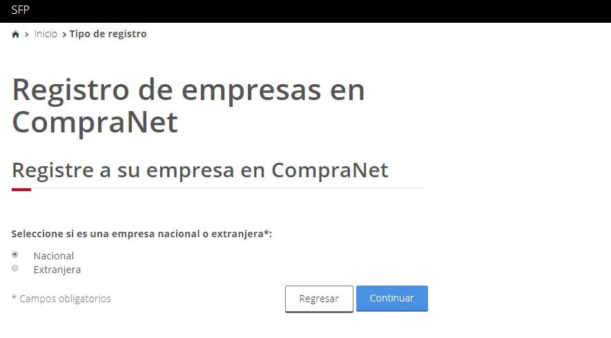 Registro de Empresas Compranet