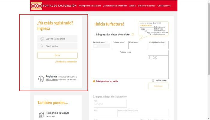 Registro de facturación en línea