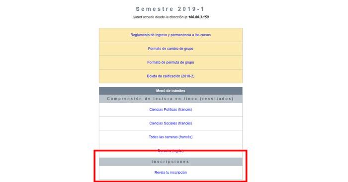 Revisar inscripción SICE UNAM