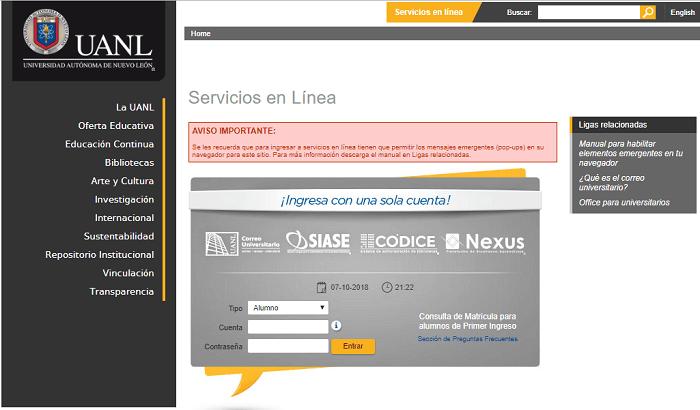 UANL Servicios en línea