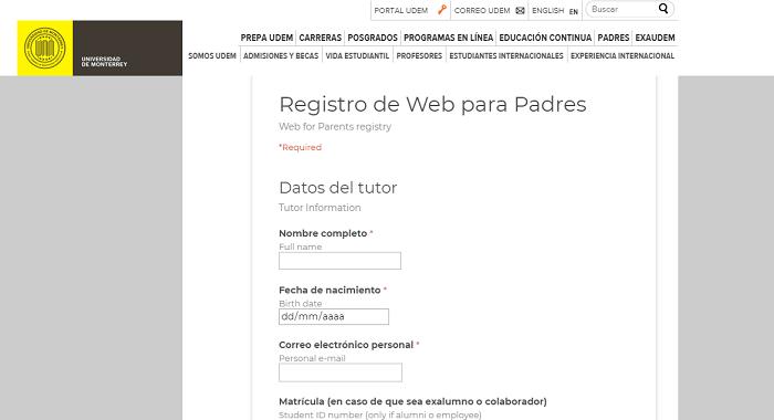 Web para padres UDEM