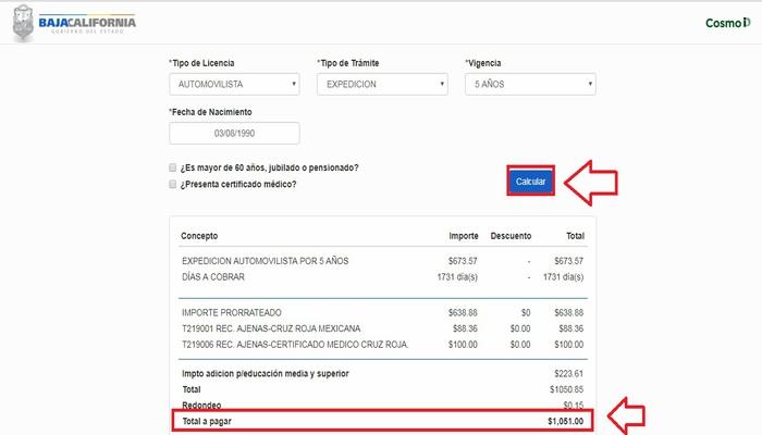 Cálculo de costo de licencia