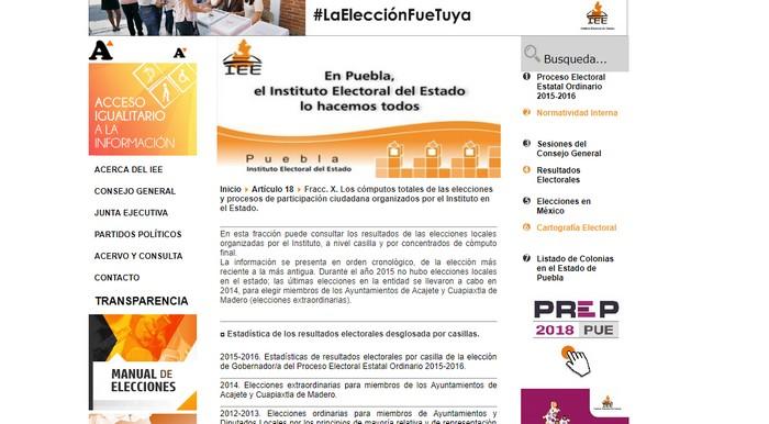 consulta de elecciones IEE Puebla