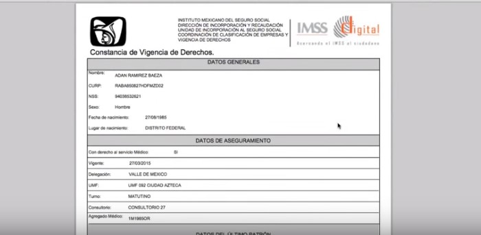 Constancia de vigencia ante el IMSS