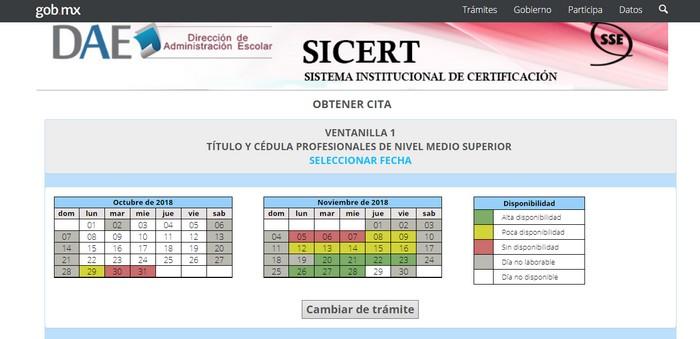 seleccion de fechas SICERT